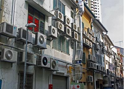 نمای ساختمان در اثر سیستم تهویه مطبوع مستقل